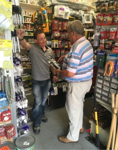 East Leake Hardware offering advice to a customer.